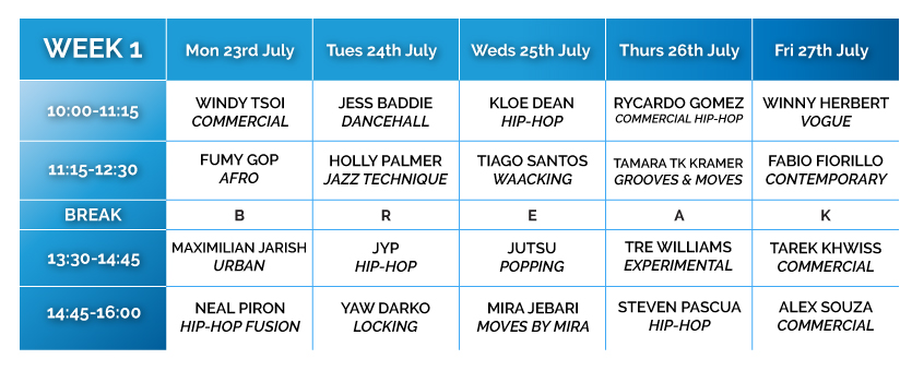 Summer Intensive Timetable Week 1