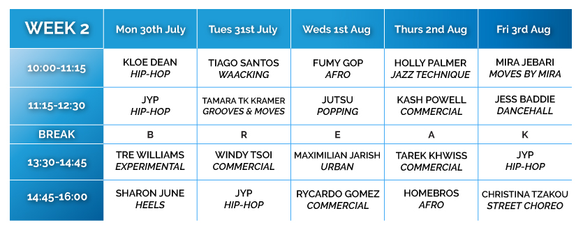 Summer Intensive Timetable Week 2