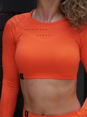 Long Sleeved Orange Crop Top