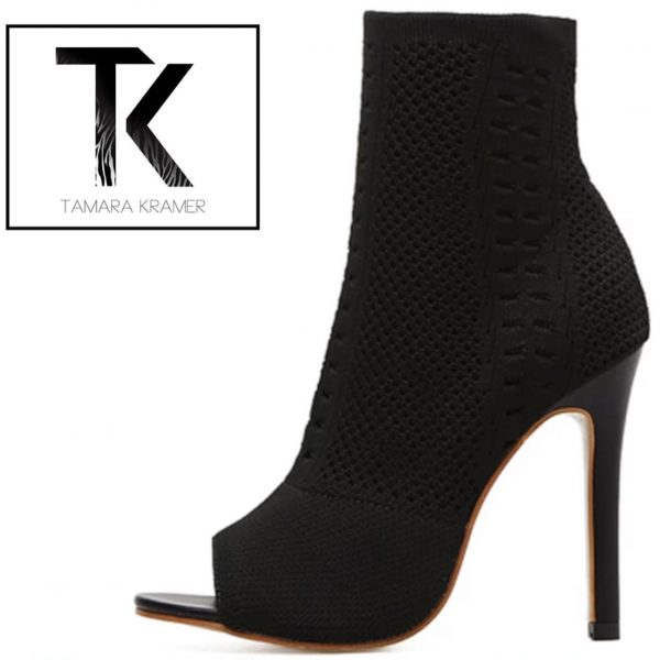 Black Sock-in Ankle Boots