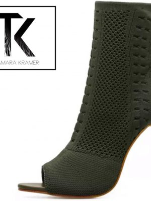 Khaki Sock-in Ankle Boots
