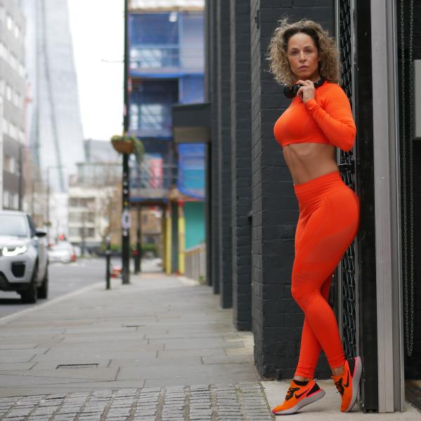 Orange Leggings and Sports Bra Set